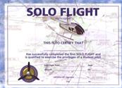1st Solo flight certificate helicopter